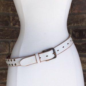 J. Crew Studded White Distressed Leather Belt S